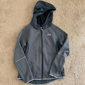 girls grey under armour zip up jacket